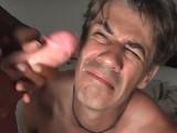Ebony femdom punishing a male bondman